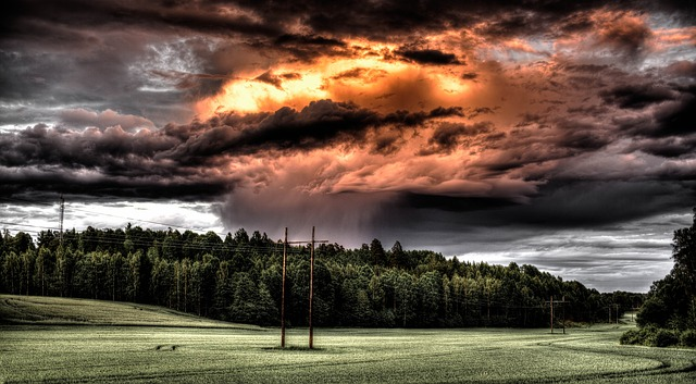 Storm hovering over meadow